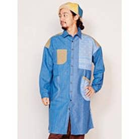 【チャイハネ】デニムパッチワークMEN'Sロングシャツ ブルー