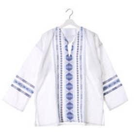 ◆【チャイハネ】グァテマラ織りヘンリーネックトップス ホワイト