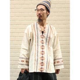◆【チャイハネ】グァテマラ織りヘンリーネックトップス オフホワイト