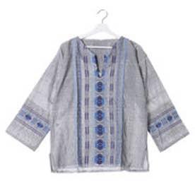 ◆【チャイハネ】グァテマラ織りヘンリーネックトップス グレー