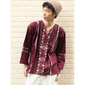 ◆【チャイハネ】グァテマラ織りヘンリーネックトップス パープル