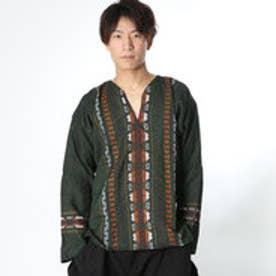 ◆【チャイハネ】グァテマラ織りヘンリーネックトップス グリーン