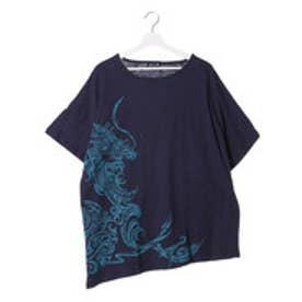 【チャイハネ】ドラゴンプリントMEN'S Tシャツ ネイビー