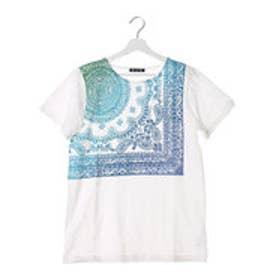【チャイハネ】バンダナ柄グラデーションメンズTシャツ ホワイト