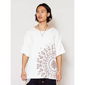 【チャイハネ】yul エスニックフラワービッグシルエットTシャツ(ユニセックス) ホワイト