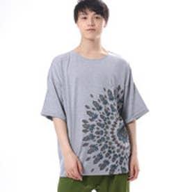 【チャイハネ】yul エスニックフラワービッグシルエットTシャツ(ユニセックス) グレー