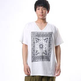 【チャイハネ】バンダナ柄刺繍メンズTシャツ ホワイト