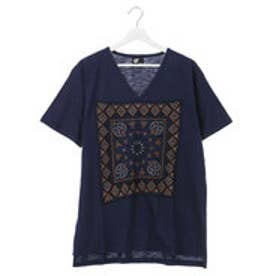 【チャイハネ】バンダナ柄刺繍メンズTシャツ ブルー