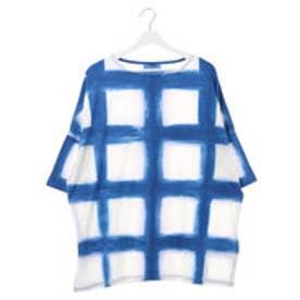 【チャイハネ】アビスブルーMEN'SビッグシルエットTシャツ ホワイト×ブルー