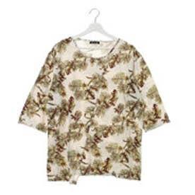 【チャイハネ】ボタニカル柄メンズTシャツ ホワイト
