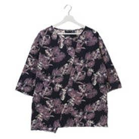 【チャイハネ】ボタニカル柄メンズTシャツ ネイビー