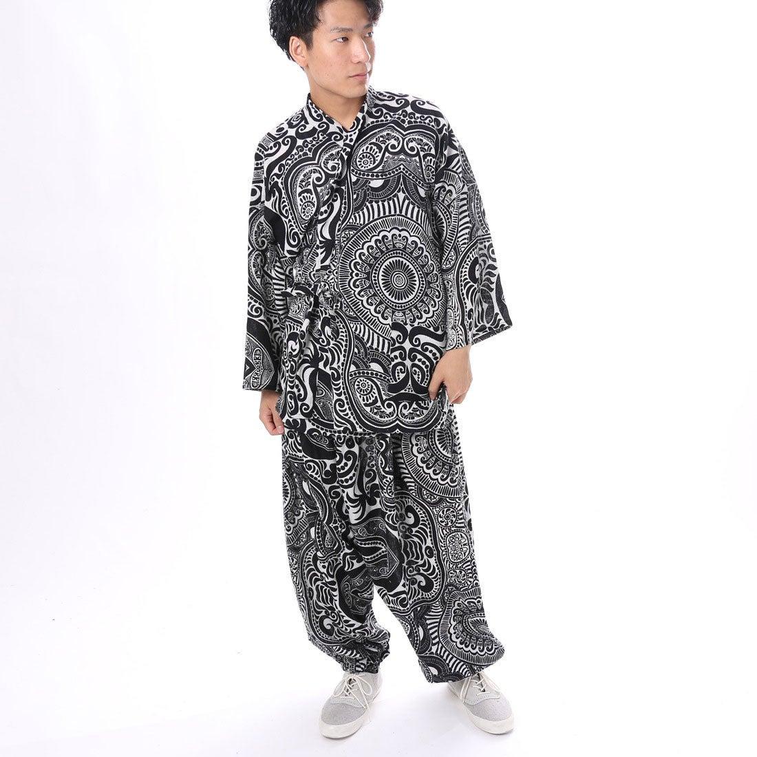 【チャイハネ】yul トライバルエスニック作務衣 ブラック