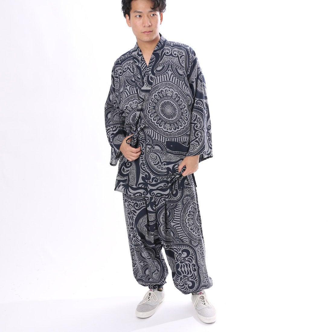 【チャイハネ】yul トライバルエスニック作務衣 ネイビー