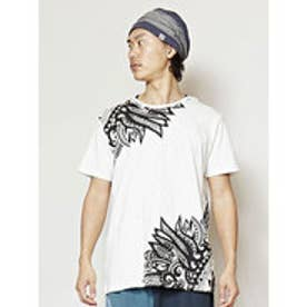 【チャイハネ】ネイティブフェザープリント メンズTシャツ ホワイト