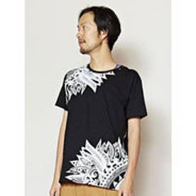 【チャイハネ】ネイティブフェザープリント メンズTシャツ ブラック