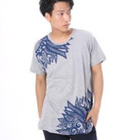 【チャイハネ】ネイティブフェザープリント メンズTシャツ グレー