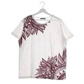 【チャイハネ】ネイティブフェザープリント メンズTシャツ オフホワイト