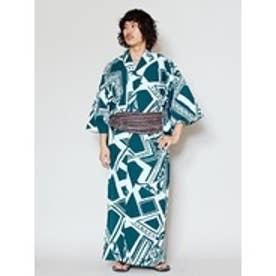 【チャイハネ】トライバルジオメ柄プリント メンズ浴衣 ブルー
