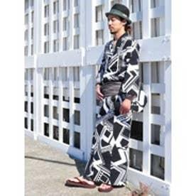 【チャイハネ】トライバルジオメ柄プリント メンズ浴衣 ブラック