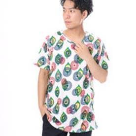 【チャイハネ】アフリカン・パーニュ柄メンズTシャツ ホワイト