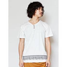 【チャイハネ】トライバル柄MEN'S VネックTシャツ ホワイト
