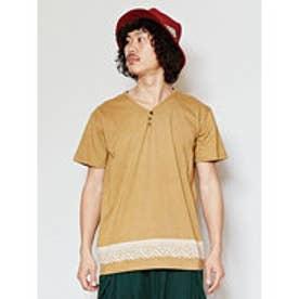 【チャイハネ】トライバル柄MEN'S VネックTシャツ ブラウン