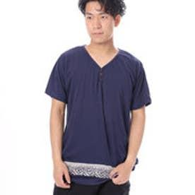 【チャイハネ】トライバル柄MEN'S VネックTシャツ ネイビー