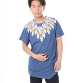 【チャイハネ】ネイティブ柄MEN'S変形Tシャツ ブルー