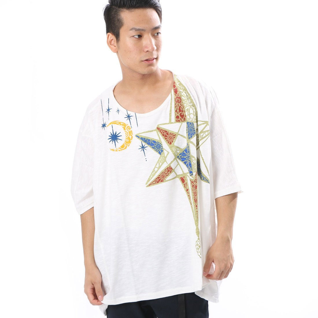 【チャイハネ】モロッコランプ★アラビアンプリントメンズTシャツ ホワイト