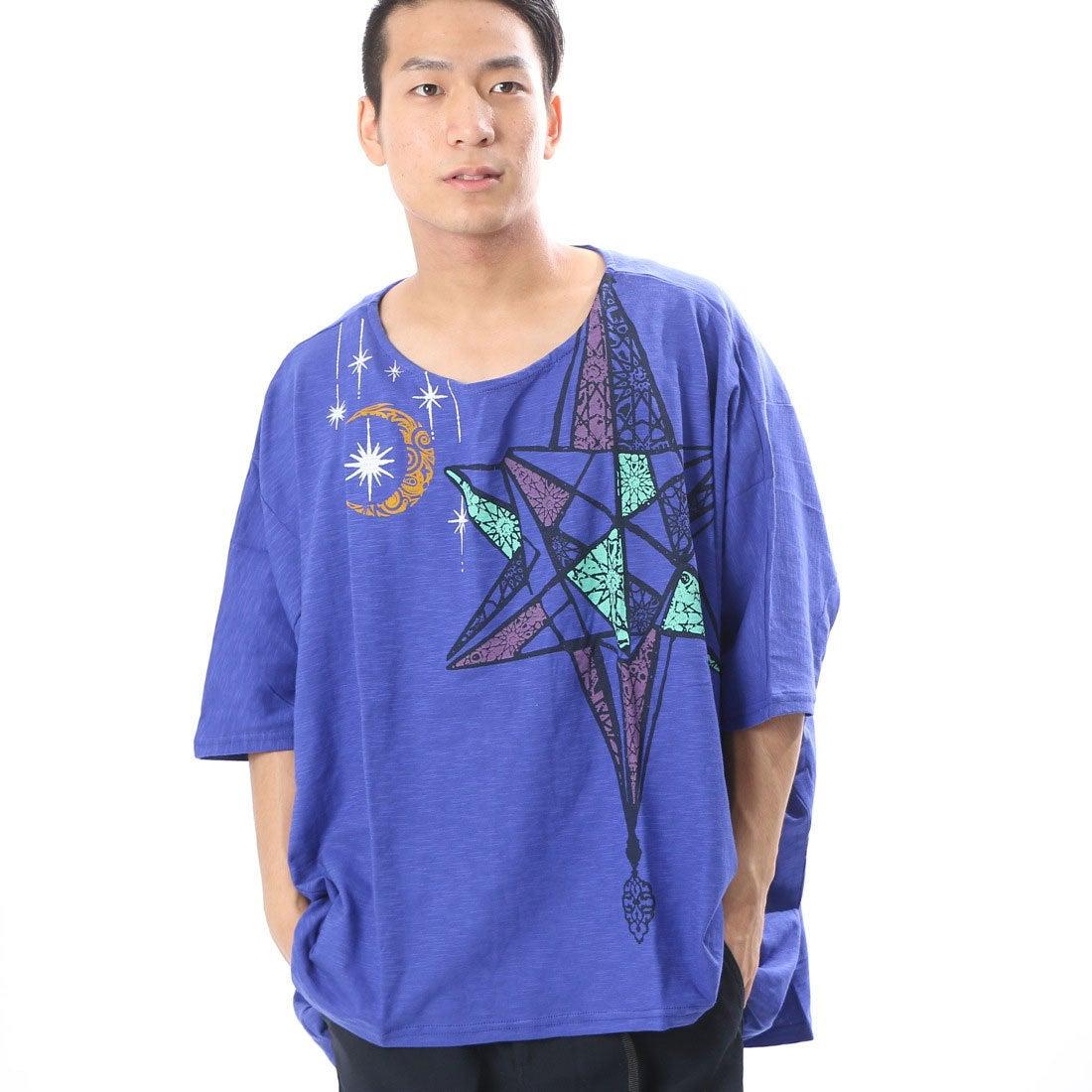 【チャイハネ】モロッコランプ★アラビアンプリントメンズTシャツ ブルー