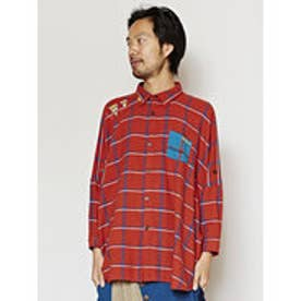 【チャイハネ】アフリカンチェック マサイMEN'Sシャツ レッド