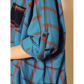 【チャイハネ】アフリカンチェック マサイMEN'Sシャツ ブルー