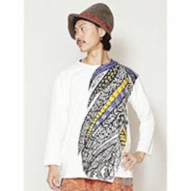 【チャイハネ】フェザープリント メンズ8分袖Tシャツ ホワイト