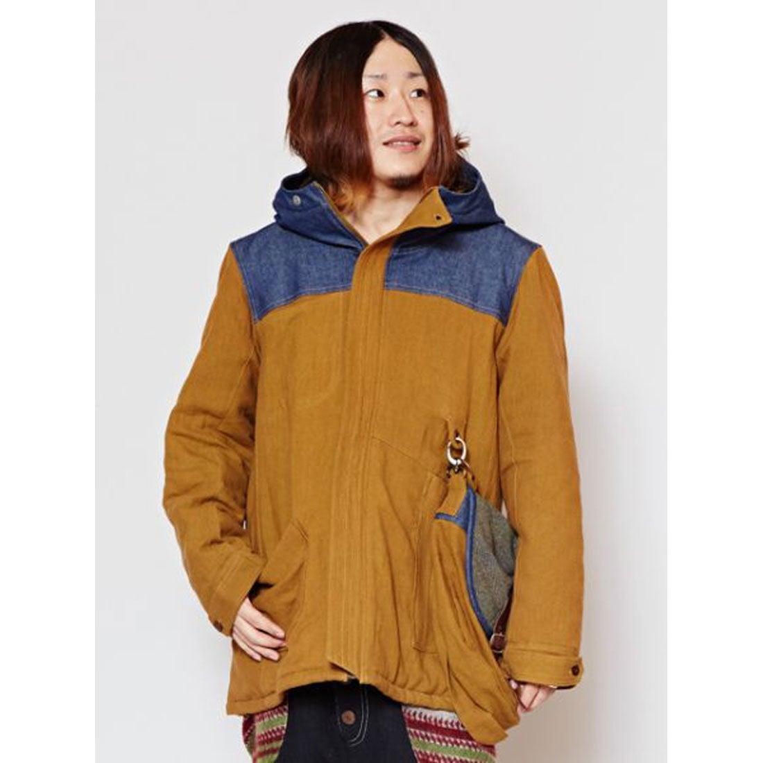【チャイハネ】サイドバッグ付きMEN'Sフードジャケット ベージュ
