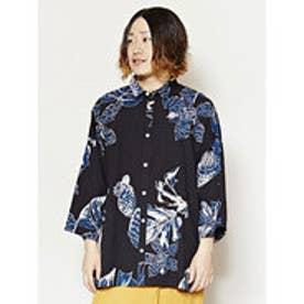 【チャイハネ】エスニックプリントMEN'Sシャツ ブラック