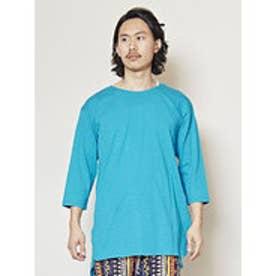 【チャイハネ】yul 無地スラブ プレーンメンズTシャツ ターコイズブルー