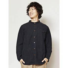 【チャイハネ】シンプルコットンMEN'Sスタンドカラーシャツ ブラック