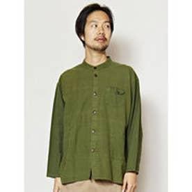 【チャイハネ】シンプルコットンMEN'Sスタンドカラーシャツ カーキ