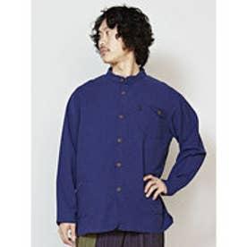 【チャイハネ】シンプルコットンMEN'Sスタンドカラーシャツ ネイビー