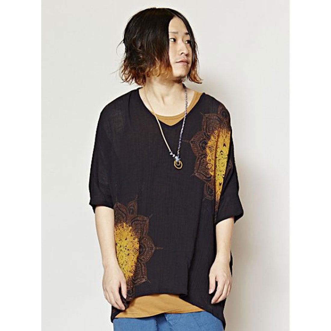 【チャイハネ】yul プリントTシャツ&タックトップセット MEN?Sアンサンブル ブラック