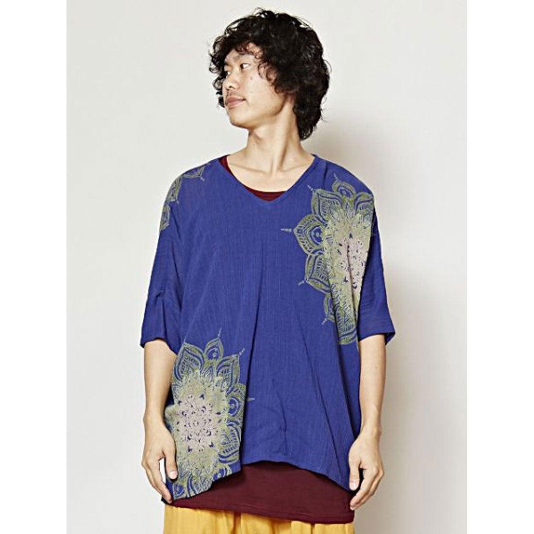 【チャイハネ】yul プリントTシャツ&タックトップセット MEN?Sアンサンブル ブルー