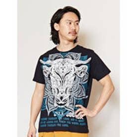 【チャイハネ】トライバルブルメンズTシャツ ブラック