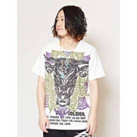 【チャイハネ】トライバルブルメンズTシャツ ホワイト