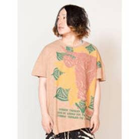 【チャイハネ】トライバルブル変形メンズTシャツ ベージュ