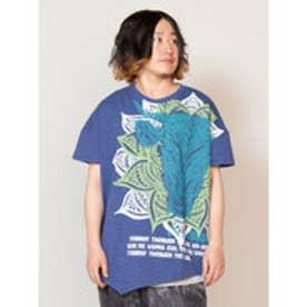 【チャイハネ】トライバルブル変形メンズTシャツ ブルー
