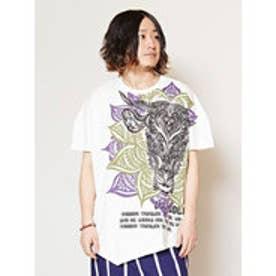 【チャイハネ】トライバルブル変形メンズTシャツ ホワイト