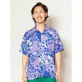 【チャイハネ】海のモチーフMEN'S開襟シャツ ブルー