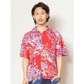 【チャイハネ】海のモチーフMEN'S開襟シャツ レッド