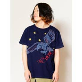 【チャイハネ】イーグル刺繍メンズTシャツ インディゴブルー
