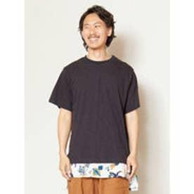 【チャイハネ】フェイクレイヤードメンズTシャツ ブラック
